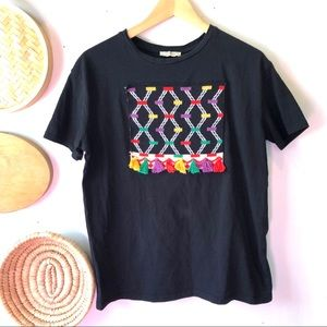 Zara black tshirt with geometric design & tassels